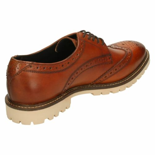 Mens London Wingtip Slavato Tan 'raid' Eleganti Derby Scarpe Robuste Base UwZvxqU