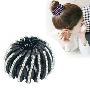 Black-Round-Crystal-Rhinestone-Hair-Claw-Bling-Hair-Clip-Clamp-Ponytail-Holder-L