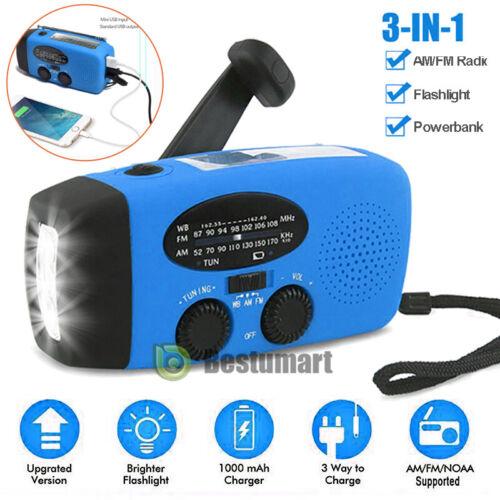 Emergency Solar Hand Crank Dynamo AM//FM//WB//NOAA Weather Radio LED Torch Charge