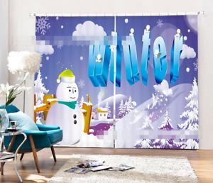 NIEVE en la nube 3D 9 Cortinas de impresión de cortina de foto Blockout Tela Cortinas Ventana CA