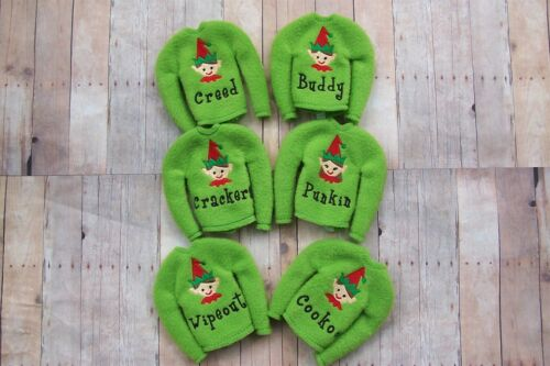 Details about  /Personalized Elf Sweater Attire Shirt Christmas Shelf Sitter Boy Girl Clothes