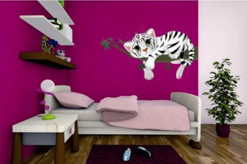 Wandtattoo Weißes Tigerbaby auf Ast 84 x 48 cm