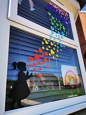 RAINBOW WINDOW STICKER KIT BANKSY INSPIRED GIRL BLOWING HEART BUBBLES