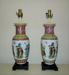 Pair-of-Chinese-Porcelain-Table-Lamps-Famille-Rose-Vase-Form-Asian-Oriental