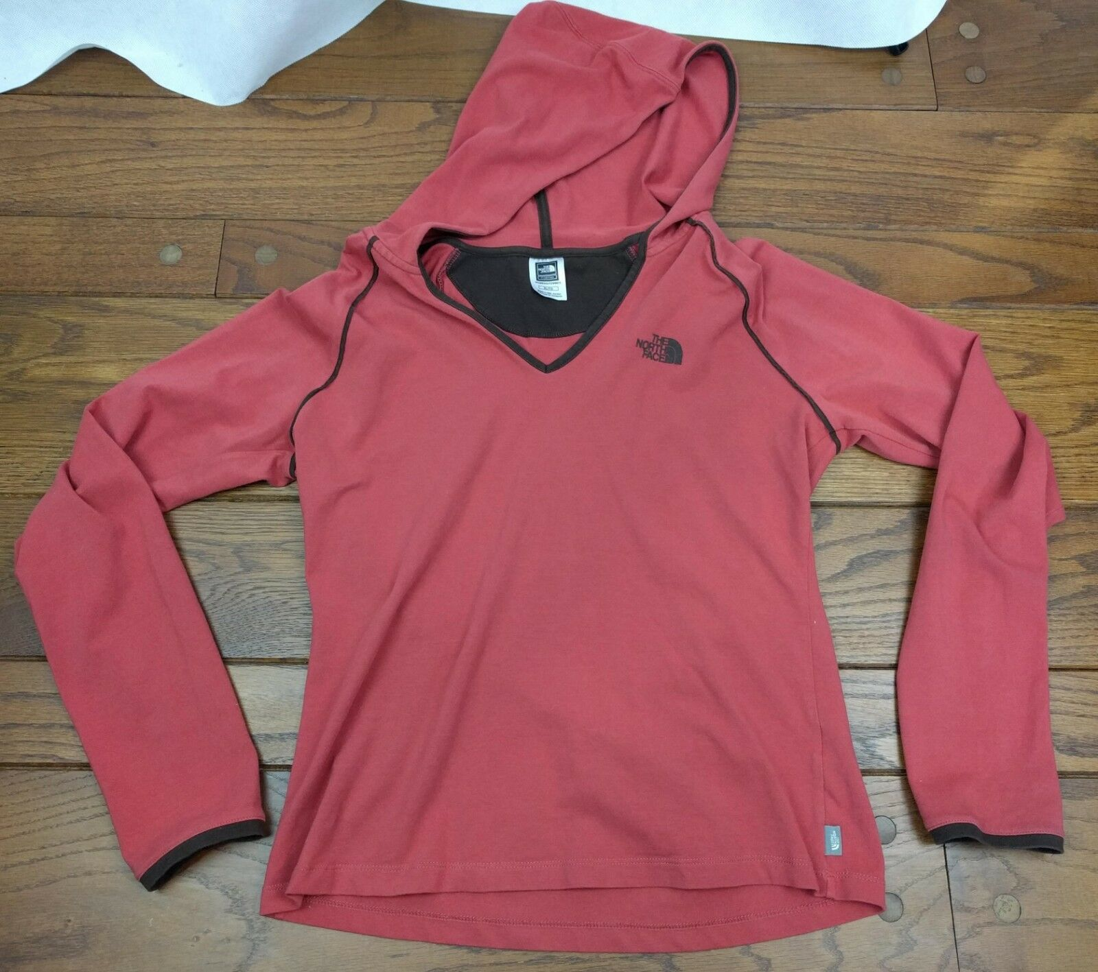 The North Face Face Face Peach Hoodie Womens Sz XL Sweater Pull Over orange Brown Active f36f96