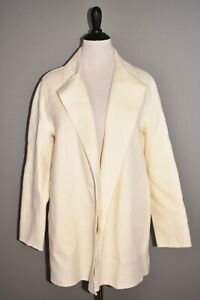 THEORY NEW $695 Overlay Coat in Double-Face Wool Cashmere Ivory Medium