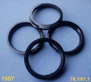 (1507) 4x Zentrierringe 78,1 / 67,1 mm schwarz grau für Alufelgen