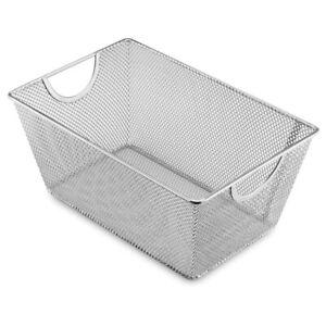 Ybm-Home-Wire-Mesh-Open-Bin-Basket-Silver-10-in-L-x-6-5-in-W-x-4-5-in-H