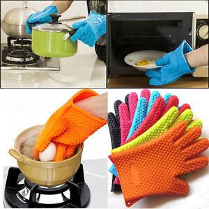Kitchen Heat Resistant Silicone Glove Oven Pot Holder Baking BBQ Cooking Mitt