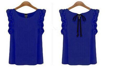36 S neu Wunderschöne Chiffon  Bluse mit   Rüschenärmel blau//schwarz  Gr