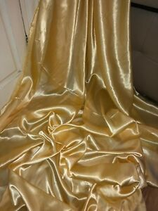 "5 MTR LIGHT GOLD CREPE BACK LINING SATIN FABRIC...58/"" WIDE NEW IN STOCK"