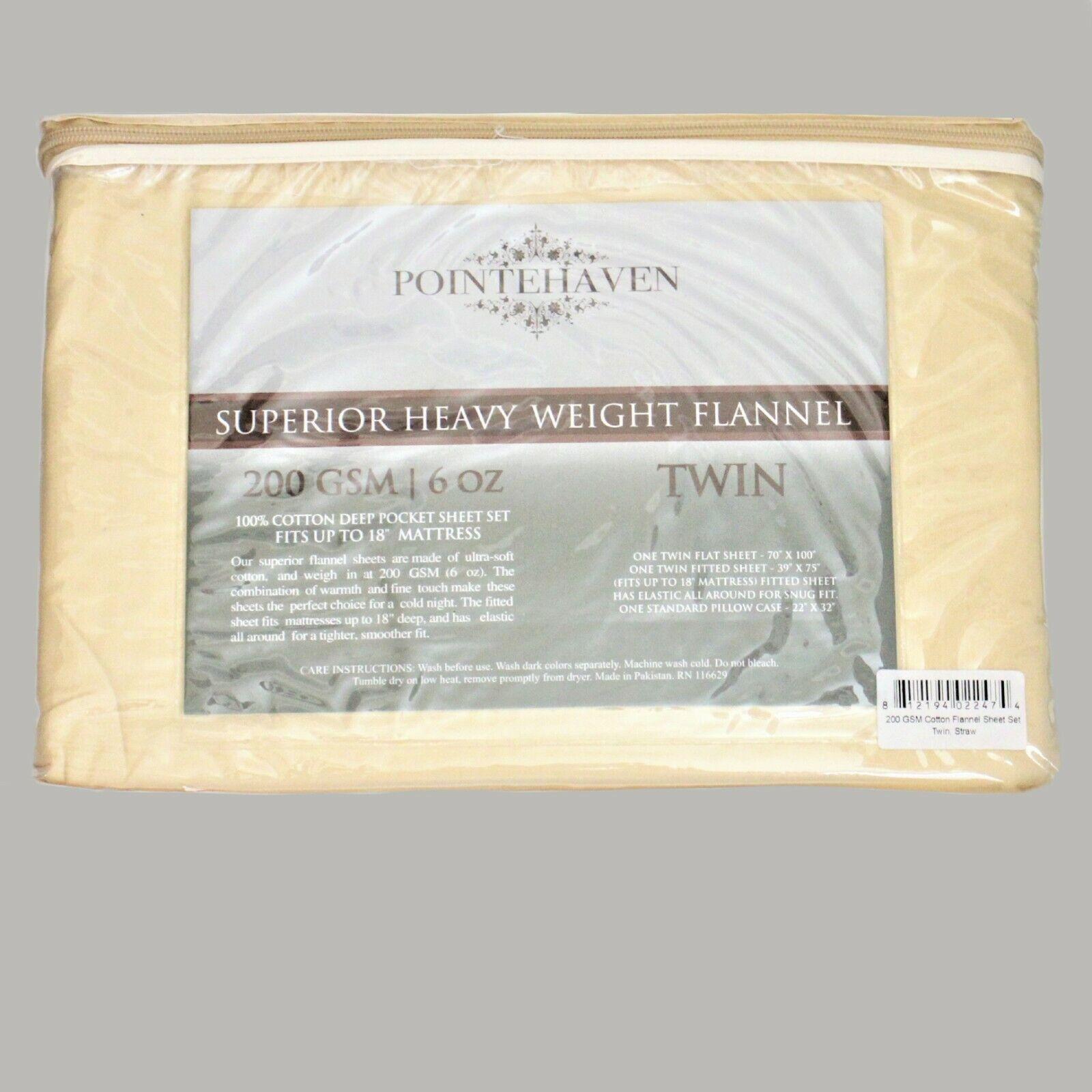 Pointehaven Superior Heavy Weight Flannel Twin Sheet Set Straw 200 Gsm Cotton For Sale Online