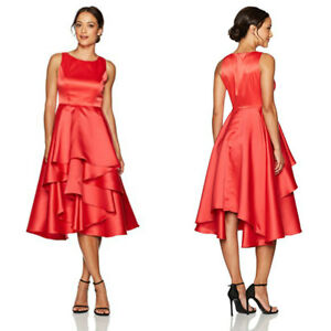 69114ad77fed Details about NWT Adrianna Papell Women's Red Satin Fit and Flare High Low  Tiered Skirt Dress