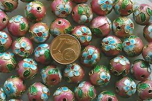 10 perles cloisonnées chinoises rondes 8 mm MARRON DIY bijoux déco