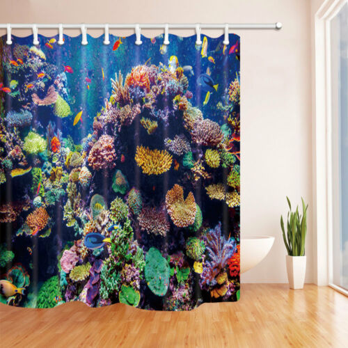Ocean Coral island View With Fish Bathroom Fabric Shower Curtain Set 71Inch Long
