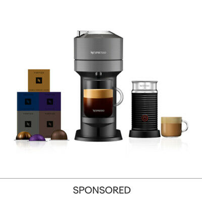 Nespresso Vertuo Next Dark Grey & Aeroccino3 + 50 Vertuo Capsules Coffee Machine
