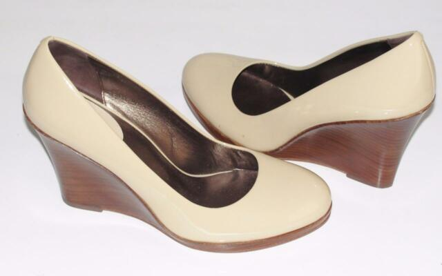 COLE HAAN~NWOB~NUDE~PATENT LEATHER~WOOD WEDGES HEELS SHOES PUMPS~7.5