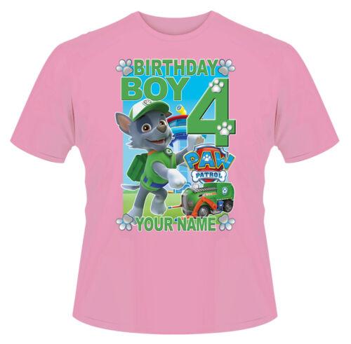 Paw Patrol Birthday Boy Rocky Personalised Boys T-Shirt Age 4 Gift//Present