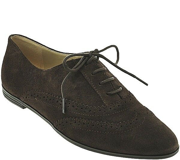 Isaac Mizrahi 'Fiona' Dark Brown Suede Pinhole Lace Up Wingtip Oxford Flats 8W