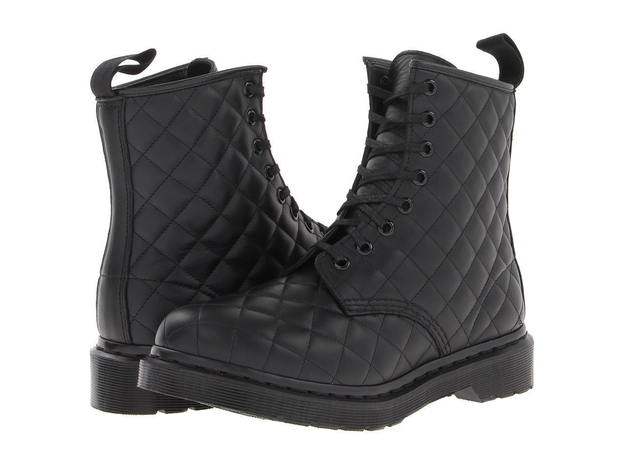 Doc Martens Diamante Acolchado De Cuero Negro Negro Negro botas De Combate.. 8 Ojales Nuevo sin etiquetas WMS c5fb6b