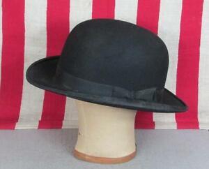 Vintage 1920s Frank Schoble Co.Black Wool Felt Bowler Derby Hat Antique 7 1/4