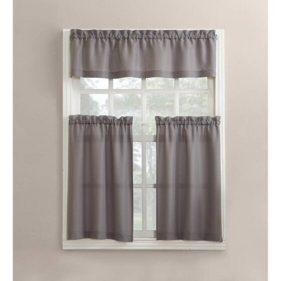 Modern Gray Grey 3 Piece Kitchen Curtains Set Valance & Tiers Cafe Curtains