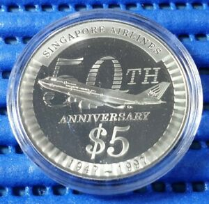 1997-Singapore-Airlines-50th-Anniversary-5-Silver-Proof-Coin-1947-1997
