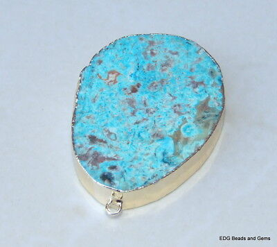 Slab Quartz Druzy Bead Stone Ocean Jasper Connector Blue Green Mint