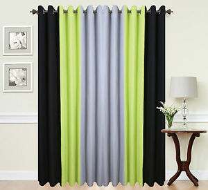 Image Is Loading Eyelet Anneau Top Ready Made Designer Curtains Black
