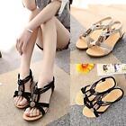 New Women's Sandals Gladiator Thong Flops T Strap Flip Wedge Heel Open Toe Shoes