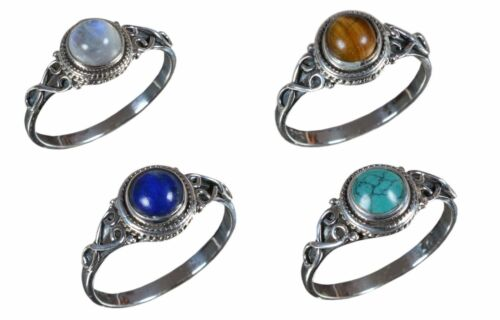 925 Solid Sterling Silver Ring Natural Multi Pierres Précieuses nous Taille 3 To 14 JR19