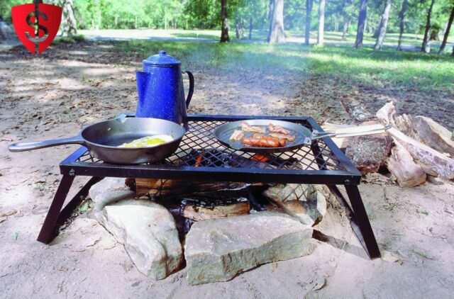 Camp Fire Grill Camping BBQ Barbeque Campfire Cooking Outdoor Portable Picnic