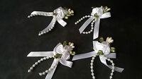 4 White Triple Rose Ribbon Bows with Pearl Bead Trim