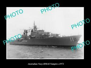 OLD-LARGE-HISTORIC-AUSTRALIAN-NAVY-PHOTO-OF-THE-HMAS-VAMPIRE-SHIP-c1972