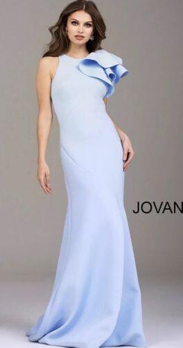 Jovani Light Blue Ruffle Shoulder Gown Evening Dre