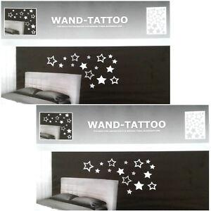 2x-Wanddeko-Set-32-STERNE-Aufkleber-Sticker-Tattoo-Wandaufkleber-Wandtattoo-NEU