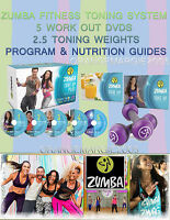 Zumba Tone Up Dvd System 5 Dvds + 2.5 Toning Weights + Program & Nutrition Guide