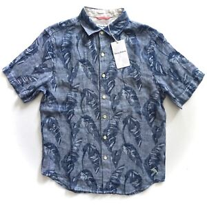 $125 Tommy Bahama Help Me Fronda Blue Ocean 100/% Linen Button Down Camp Shirt S