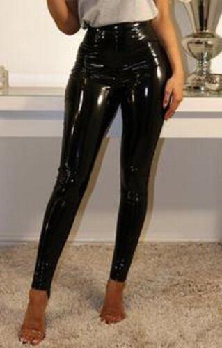 Da Donna Nero PU Vita Alta Skinny in Vinile Lucido Wet Look Leggings Pantaloni Pantalone