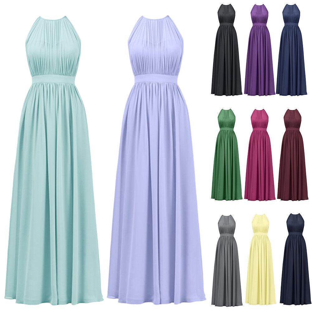 e67c85c780eebc Damen Lang Neckholder Hochzeit Abendkleid Brautjungfernkleid Cocktailkleid  Kleid