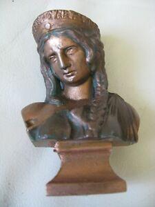 """Antique Victorian Art Nouveau Greek Woman Bust Cast Metal Spelter Statue 4 1/2"""""""