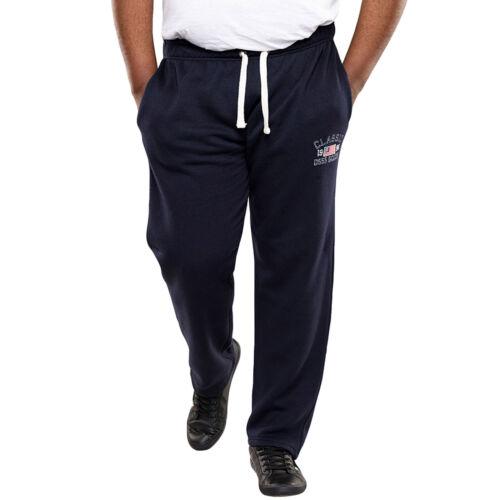 Duke D555 Homme Big Tall King Size MAYSON Open Hem Pantalon De Survêtement Piste Pantalon-Bleu Marine