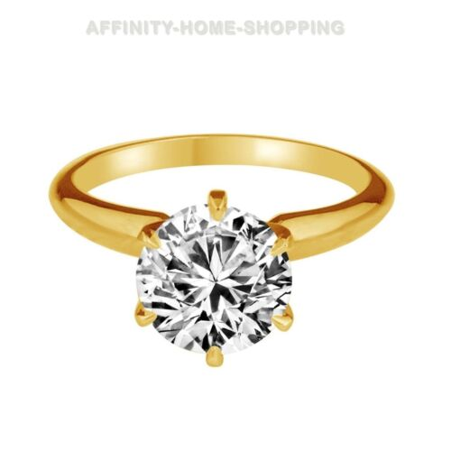 1.00 Ct D//VVS1 10k Solid Yellow Gold Round Brilliant Engagement Ring