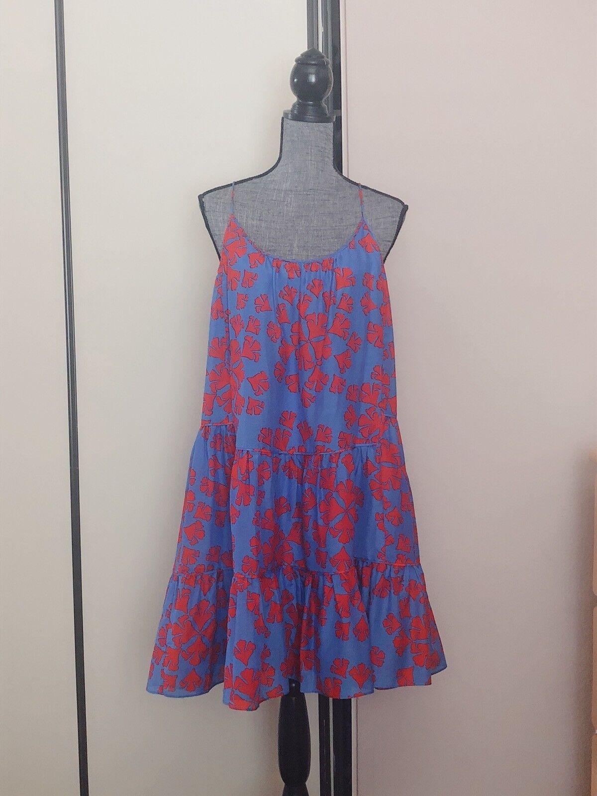 Diane von Furstenberg Furstenberg Furstenberg Baylee Ruffle Cotton   Silk  Dress  New Sz P 95d99e