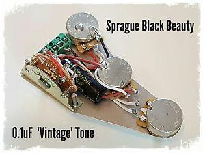 fender stratocaster strat sprague black beauty wiring loom upgrade kit ebay. Black Bedroom Furniture Sets. Home Design Ideas