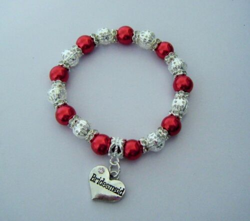 FAMILY HEART CHARM RED PEARL /& SILVER CHARM BRACELET WITH CHOICE WEDDING