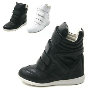 Womens-4-Velcro-Strap-Ankle-Lace-Up-Wedge-Sneakers-High-Top-Hidden-Heel-Shoes