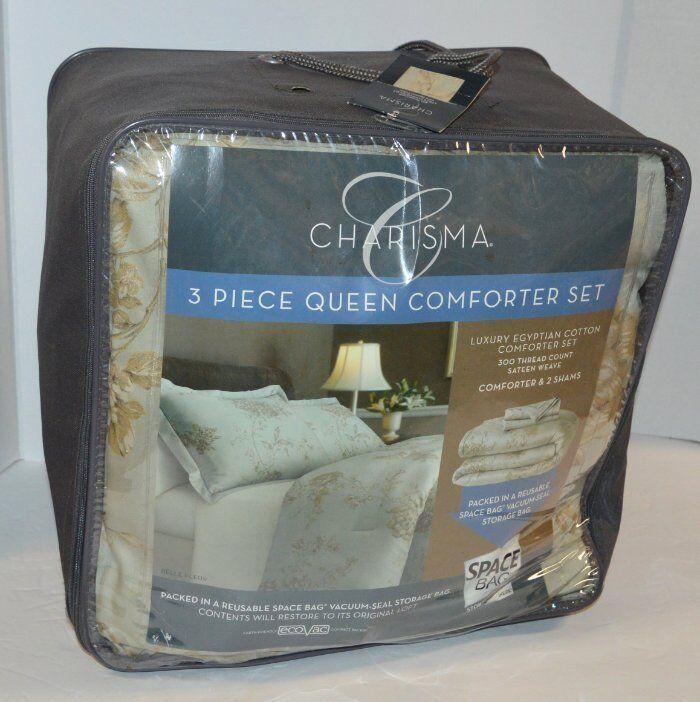Charisma Belle Fleur Mist Grün 3P Full  Queen Comforter Set in Space Bag