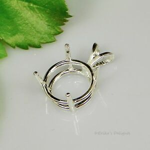 4mm-25mm-Solid-925-Sterling-Silver-ROUND-Pre-Notched-Pendant-Setting-4-Prong