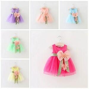 Toddler-Infant-Kids-Baby-Girls-Summer-Dress-Princess-Party-Wedding-Bow-Dresses